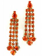 Large Fiery Red Rhinestone Chandelier Drop Earrings.